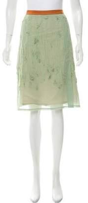Dries Van Noten Ruffle-Accented Knee-Length Skirt