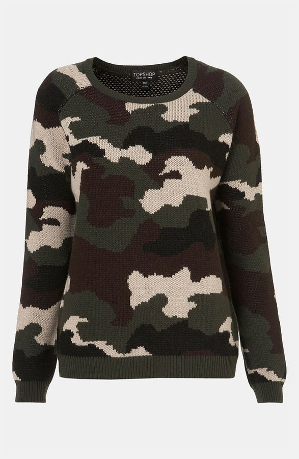 Topshop Camouflage Sweater