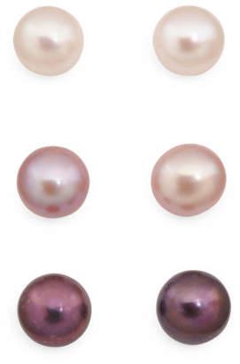 Sterling Silver Set Of 3 Pearl Stud Earrings
