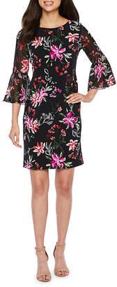 Studio 1 3/4 Sleeve Floral Puff Print Sheath Dress