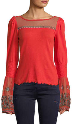 Free People Women's Bell Sleeve Embroidery Top