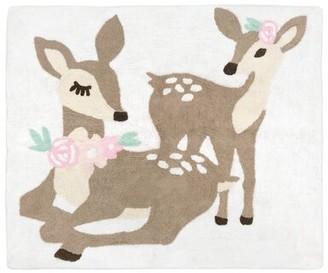 JoJo Designs Sweet Deer Floral Hand-Tufted Cotton Tan/Blush Pink Sweet