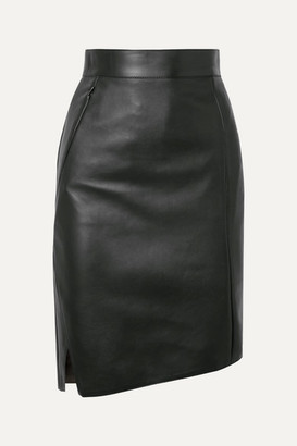 Akris Asymmetric Leather Skirt - Green