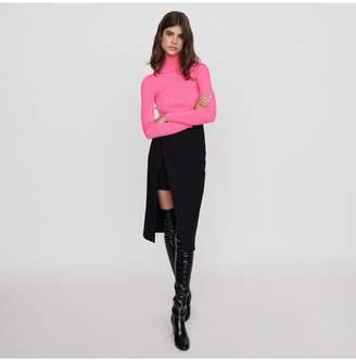 Maje Calf-Length Split Pencil Skirt
