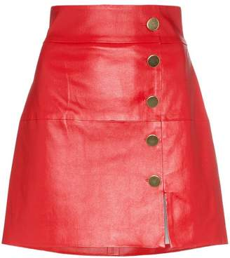 Skiim Lucy leather button down mini skirt