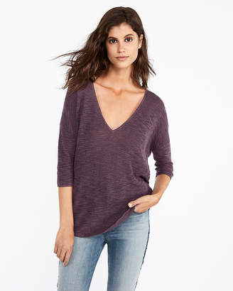 Express V-Neck Slub London Tunic Sweater