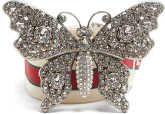 Gucci Crystal-embellished butterfly elastic belt