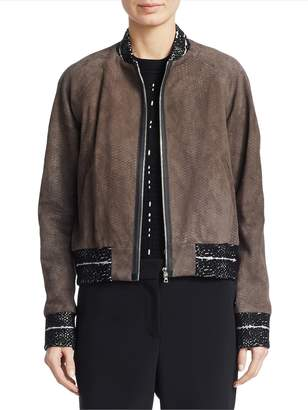 Yigal Azrouel Women's Snakeskin-Embossed Leather Bomber Jacket