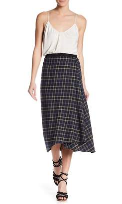 Vince Plaid Drape Front Midi Skirt