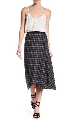Vince Plaid Drape Front Midi Skirt