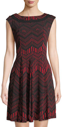 Gabby Skye Chevron-Print Fit & Flare Dress