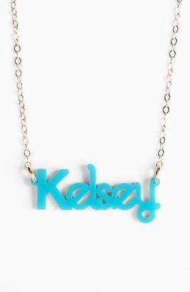 Moon and Lola 'Zebra Block Font' Personalized Nameplate Pendant Necklace