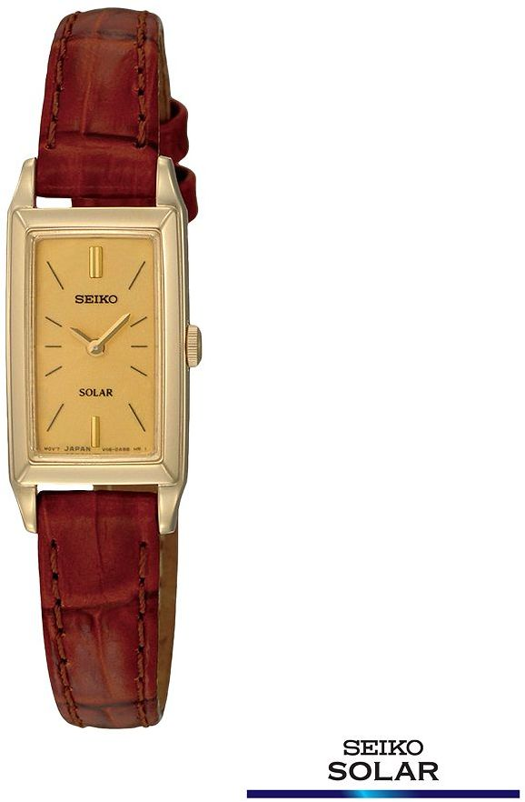 Seiko solar stainless steel gold tone leather watch - women