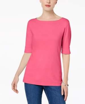 Karen Scott Cotton Elbow-Sleeve Top, Created for Macy's