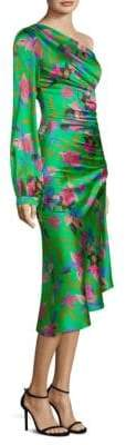 Etro Floral One-Sleeve Ruched Dress