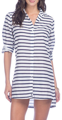 Lauren Ralph Lauren Lauren Ralph Lauren Striped Camp Shirt Cover-Up