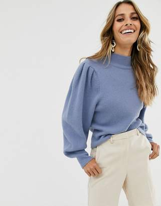 And other stories &  puff shoulder marino wool jumper in blue