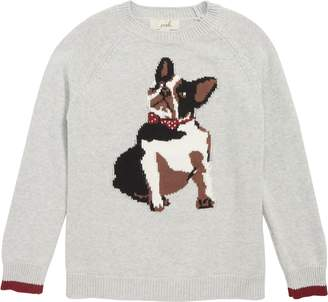 Peek Bow Tie Dog Intarsia Sweater
