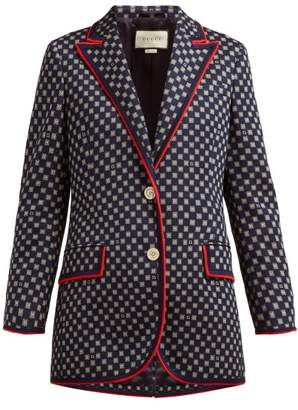 Gucci Single Breasted Square Jacquard Cotton Blazer - Womens - Navy Multi