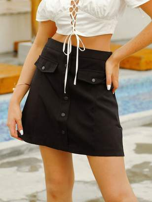 Shein Double Crazy Solid Button Front Flap Skirt