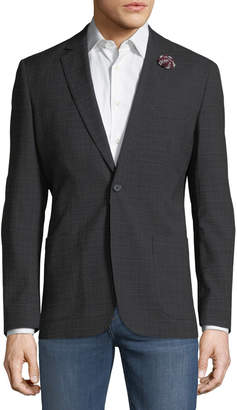 English Laundry Men's Plaid Comfort Stretch Sport Coat, Black