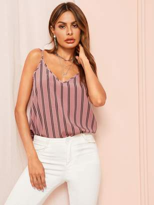 Shein Double V-neck Vertical Stripe Cami Top