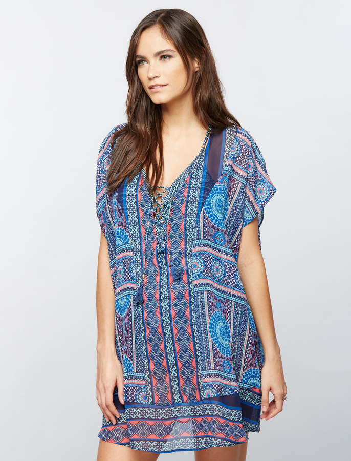 A Pea In The PodBorder Print Tie Front Maternity Swim Cover Up