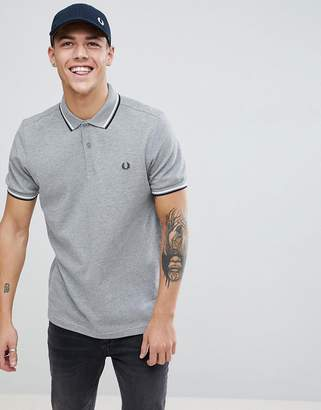 Fred Perry Twin Tipped Polo Shirt In Grey Marl