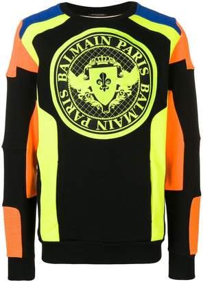 Balmain panelled sweatshirt