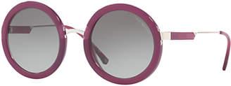 Emporio Armani EA4106 Round Sunglasses, Magenta/Grey Gradient