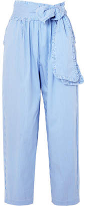 MSGM Ruffled Striped Cotton-blend Poplin Tapered Pants
