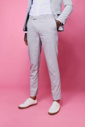 boohoo Textured Check Skinny Fit Trouser