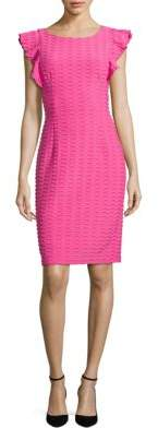 Adrianna Papell Flutter Sleeve Chevron Textured Dress $120 thestylecure.com