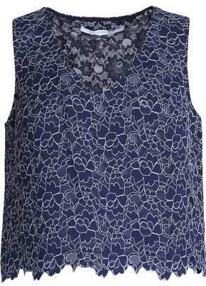 Diane von Furstenberg Cropped Cotton-Blend Lace Top