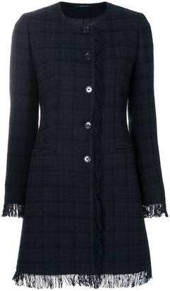 Tagliatore plaid fringed coat