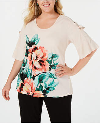 JM Collection Plus Size Printed Lace-Up Top
