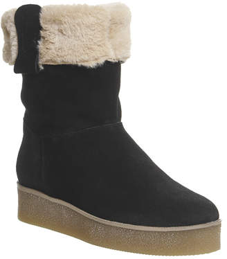 Office Icicle Fur Lined Crepe Sole Boots Black Suede