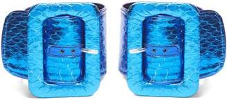 ATTICO Oversized-buckle snakeskin ankle straps