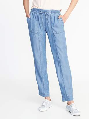 Old Navy Mid-Rise Tencel® Utility Cropped Pants for Women
