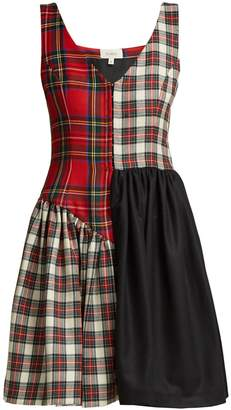 Isa Arfen Elsi patchwork tartan-wool dress