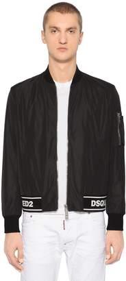 DSQUARED2 Boxy Nylon Bomber Jacket W/ Logo Hem