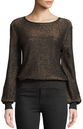 Milly Shimmer Metallic Pullover Sweater