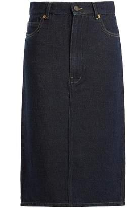 Raey Soft-denim midi pencil skirt