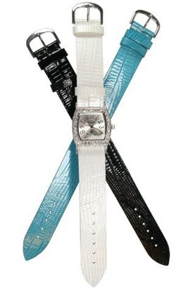 Avalon Women 'sシルバートーンWatch with 3 InterchangeableレザーStraps # 6445sx-white-black-turquoise