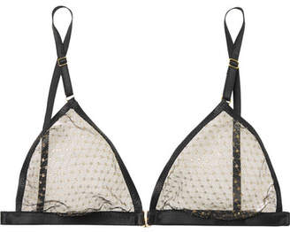 Le Petit Trou - Marion Metallic Embroidered Tulle Soft-cup Triangle Bra - Black