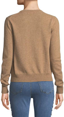 Neiman Marcus Cashmere Button-Front Cardigan, Camel