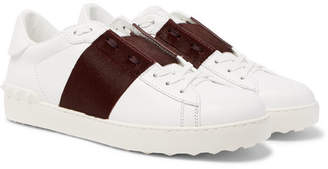Valentino Open Striped Leather And Calf Hair Sneakers