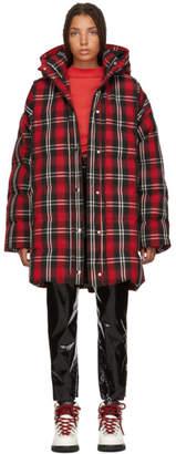 MSGM Red Plaid Down Jacket