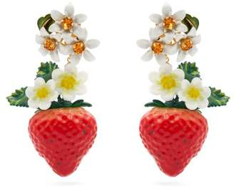 Dolce & Gabbana Strawberry Crystal Embellished Drop Earrings - Womens - Red