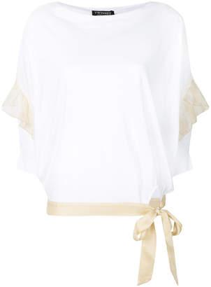 Twin-Set ruffle detail tie waist T-shirt